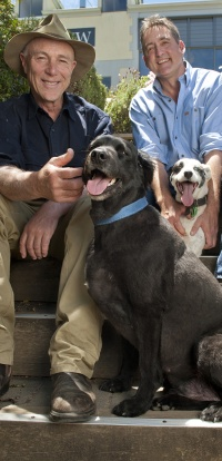 Hahndorf Hill Winery owners, Larry Jacobs and Marc Dobson, with their pets Nero and Bacchus.