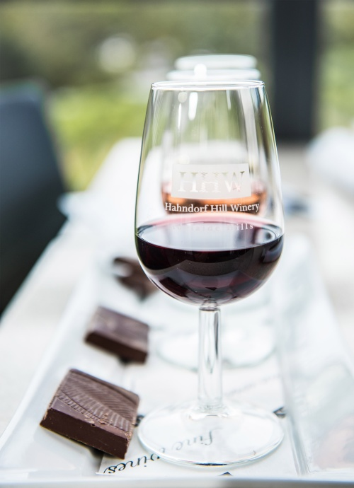 Red wine matched to gourmet chocolate at Hahndorf Hill